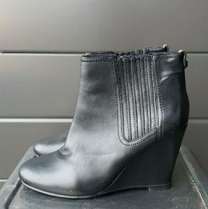 rudsak black wedge  leather booties